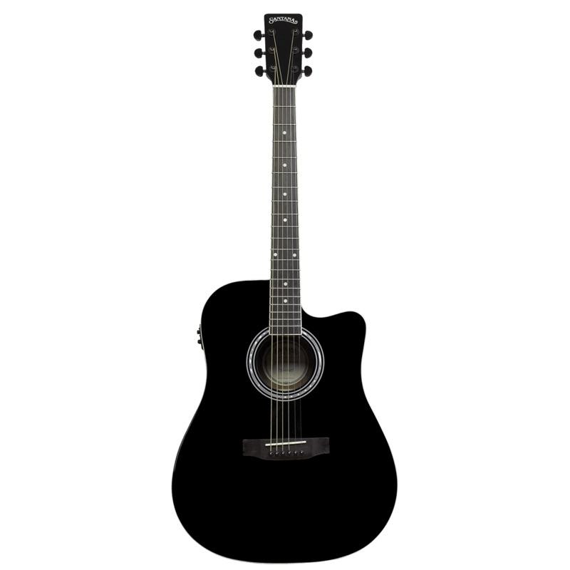 musik-lageret-viborg-Santana LA-100 EQCW v2 BK Western Guitar Elektrisk Akustisk Guitar Begynderguitar Stålstrenge Musiklageret Viborg